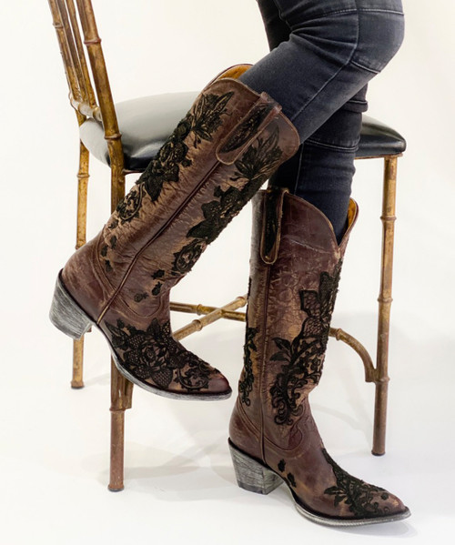"""L2310-2 OLD GRINGO NICOLETTE BRASS BLACK 15"""" TALL LEATHER BOOTS (Sintino Toe)"""