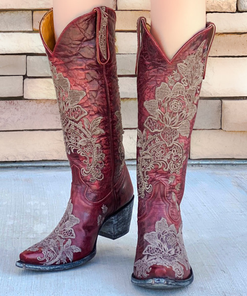 "L2310-3 OLD GRINGO NICOLETTE VESUVIO RED BEIGE TAUPE LACE 15"" LEATHER BOOTS"