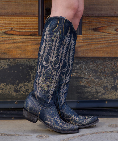 """L1213-17 OLD GRINGO MAYRA BIS DISTRESSED BLUE 18""""  BOOTS"""
