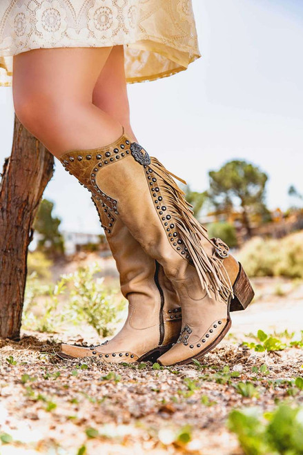 "DDL017-3 DOUBLE D RANCH RUSTY RAVINE BONE FRINGE 15"" TALL COWGIRL BOOTS"