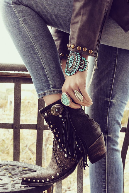 DDBL022-2 DOUBLE D RANCH BOOGIE BLACK DISTRESSED ANKLE BOOTS