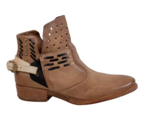 A.S.98 BOWIE SAHARA TAN BUCKLED FASHION ANKLE LEATHER BOOTS