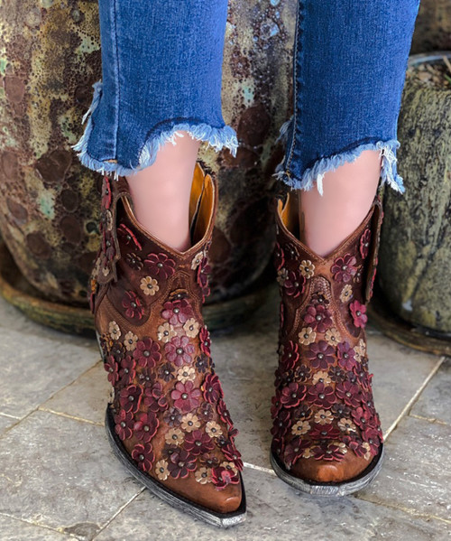 """L 840-11 OLD GRINGO HIPPIE CHICK ZIPPER SNIP TOE BRASS RED BONE  7"""" ANKLE BOOTS"""