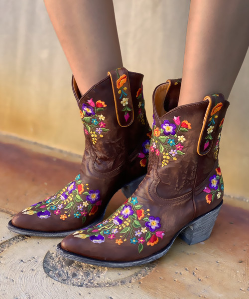 """L 841-3 OLD GRINGO SORA 8"""" BRASS EMBROIDERED COWGIRL BOOT"""