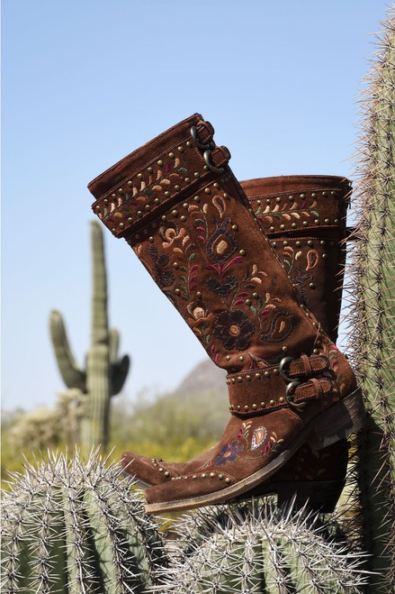"""DDL032-1 DOUBLE D RANCH TRAVELERS & TRADERS 15"""" SUEDE BRUNETTE LEATHER BOOTS"""