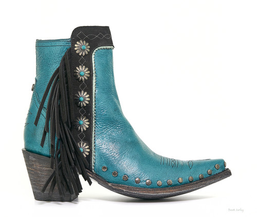 DDBL018-3 Double D Ranch Apache Kid Turquoise Black Concho Ankle Boots