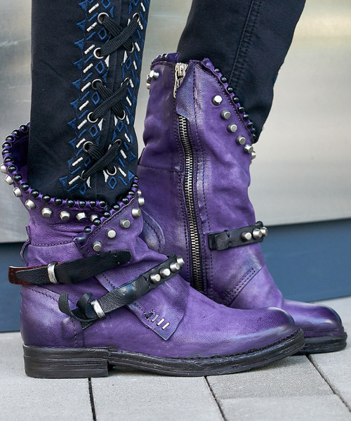 A.S.98 VIANNE TOXIC  / NERO (violet / black) STUDDED ANKLE BOOTS