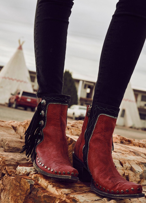 DDBL018-4 Double D Ranch Apache Kid Coral Red Black Concho Ankle Boots