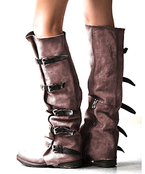 A.S.98 SHAYLYNN TATUM TABACCO BUCKLED FASHION LEATHER BOOTS