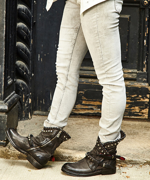 A.S.98 VIANNE SMOKE  / NERO (gray/ black) STUDDED ANKLE BOOTS