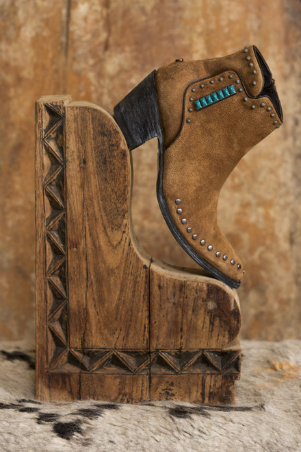 """DDBL030-1 DOUBLE D RANCH GOBI NOMAD 6"""" SUEDE COGNAC LEATHER ANKLE BOOTS"""