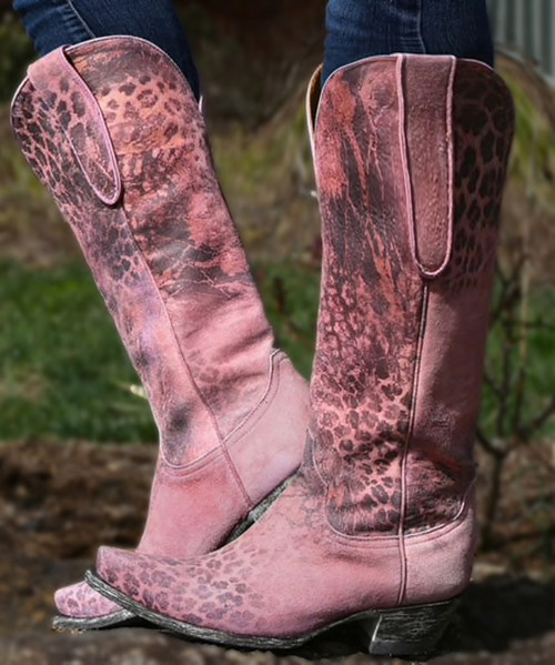"""L 168-5 OLD GRINGO """"EXCLUSIVE"""" PINK LEOPARDITO 15"""" TALL BOOTS"""