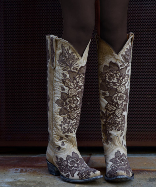 L2310-4 OLD GRINGO NICOLETTE 18' BONE EMBROIDERED COWGIRL BOOTS