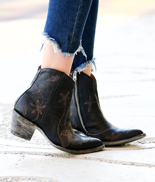 BL1136-5 OLD GRINGO FLORA LOCA BLACK EMBROIDERED ANKLE BOOTS