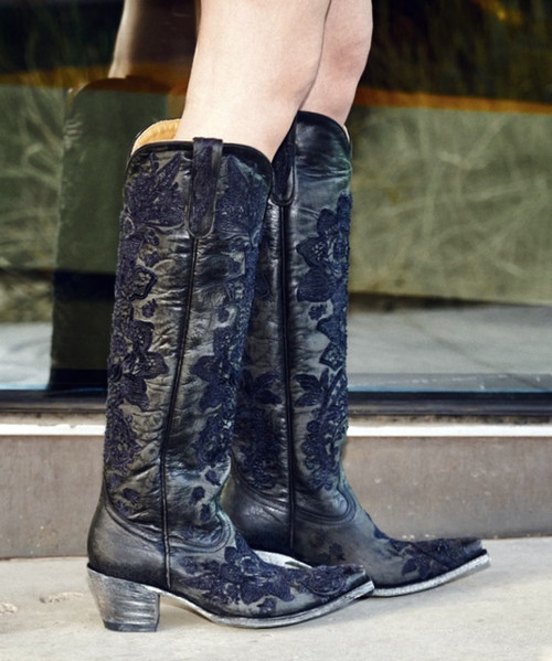 """L2310-5 OLD GRINGO NICOLETTE 18"""" BLACK EMBROIDERED COWGIRL BOOTS (snip toe)"""
