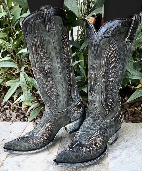 "L 105-84 OLD GRINGO ELVIS EAGLE 13"" CHARCOAL / BLACK COWGIRL BOOTS"