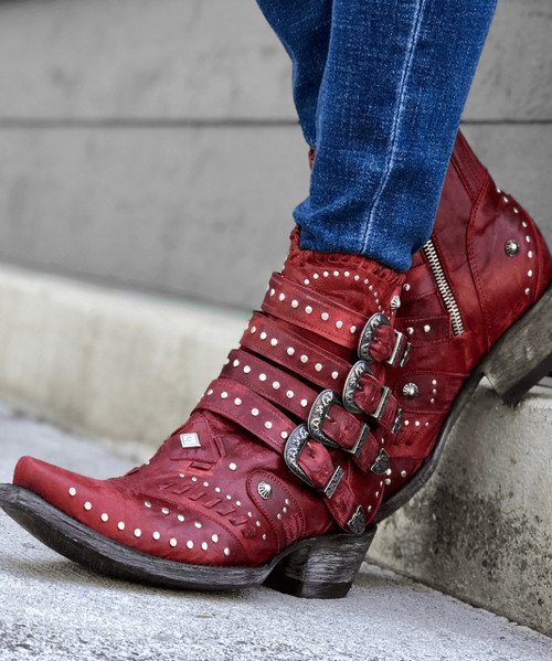 BL3099-2 OLD GRINGO JAYLENE VESUVIO RED LEATHER ANKLE BOOTS
