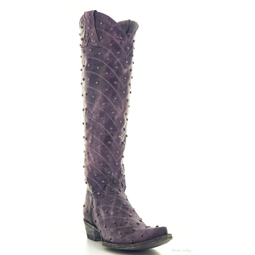 "L 675-11 OLD GRINGO HOSIFOOKAMI 18"" TALL VESUVIO PURPLE LEATHER BOOTS (0 TOE)"