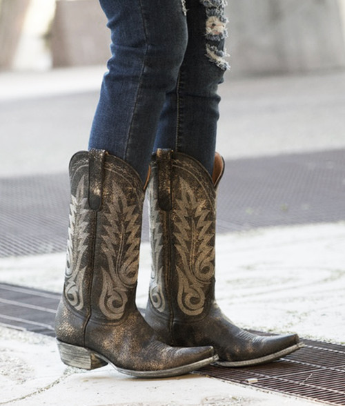 """L1964-7 OLD GRINGO NEVADA 13"""" DISTRESSED BLACK COWGIRL BOOTS"""