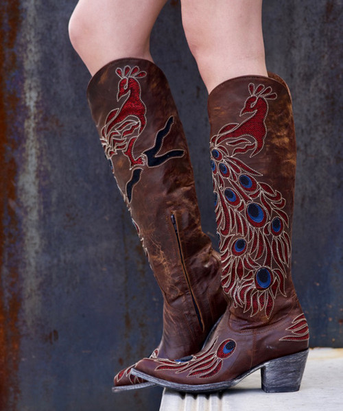 """L2839-1 OLD GRINGO PEACOCK 18"""" DISTRESSED BRASS LEATHER COWGIRL BOOT"""