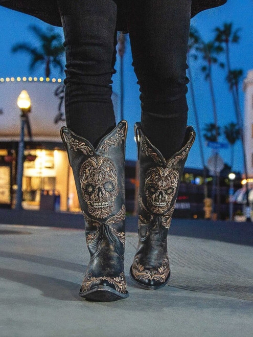 "L3191-1 OLD GRINGO DULCE CALAVERA SKULL BLACK BEIGE CRYSTAL BEADED 13"" EMBROIDERED LEATHER WOMEN'S BOOTS"