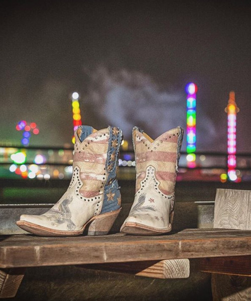 """YBL 341-1 YIPPEE KI YAY BY OLD GRINGO BOOTS JORIE PATRIOTIC 8"""" CRACKLED MILK LEATHER BOOTS"""