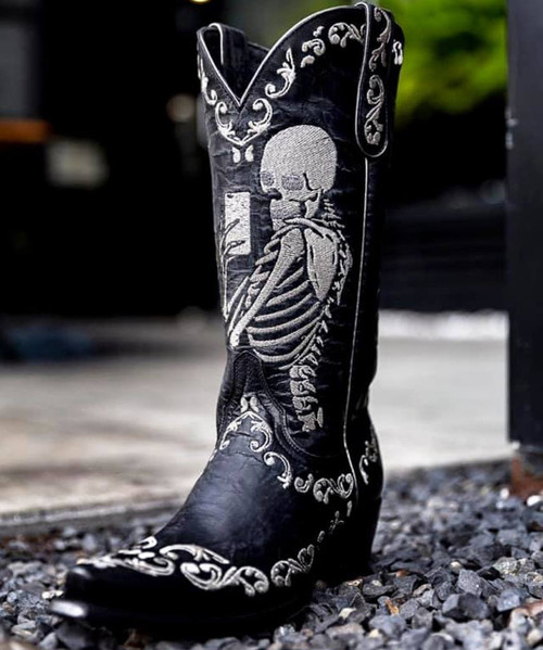 """YL 348-1 YIPPEE KI YAY BY OLD GRINGO BOOTS SELFIE BLACK EMBROIDERED 13"""" LEATHER BOOT"""