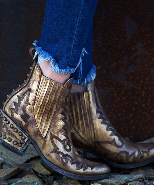 BL3210-2 OLD GRINGO JUNO BRONZE GOLD GLAZED GAUCHO STUDDED ANKLE BOOT