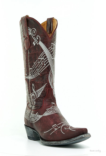 "L1030-7 OLD GRINGO VIOLINA VESUVIO RED SILVER EMBROIDERY 13"" LEATHER BOOTS"