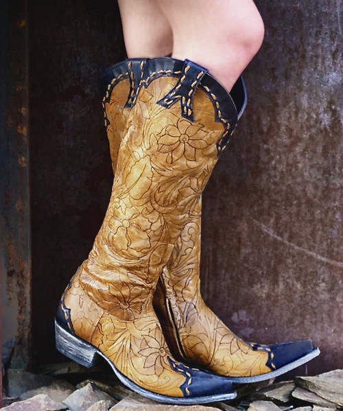 """FL 667-11 OLD GRINGO REBECA MAYRA STYLE BUTTERCUP NAVY 18"""" TALL WOMENS BOOTS"""