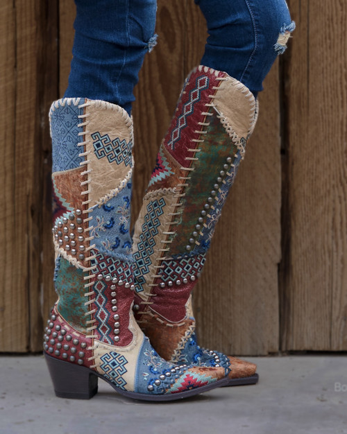 """DDL050-1 DOUBLE D RANCH BLOWOUT BONE RED MULTI TALL 18"""" LEATHER PATCHWORK BOOTS"""