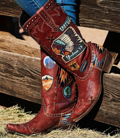 "DDL044-1 DOUBLE D RANCH ESCALANTE RED DISTRESSED 15"" LEATHER BOOTS"