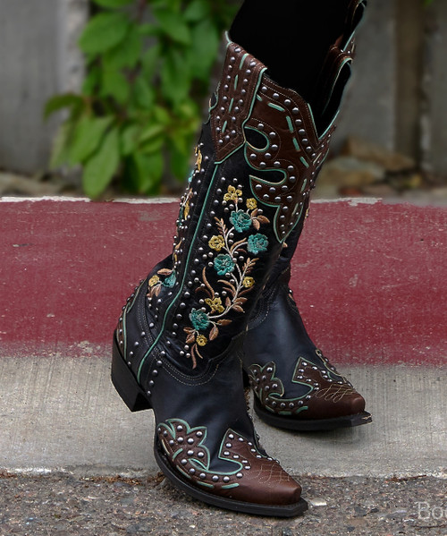 "DDL054-1 DOUBLE D RANCH ROUND UP ROSIE 15"" STUDDED EMBROIDERED TURQUOISE BRASS LEATHER BOOTS"