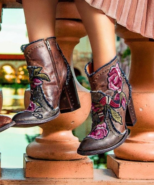 BL3184-1 OLD GRINGO CARLA DISTRESSED KHAKI FLORAL ANKLE BOOTS