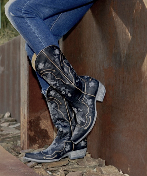 """L 696-1 OLD GRINGO BONNIE PIPIN 13"""" BLACK EMBROIDERED COWGIRL BOOTS"""
