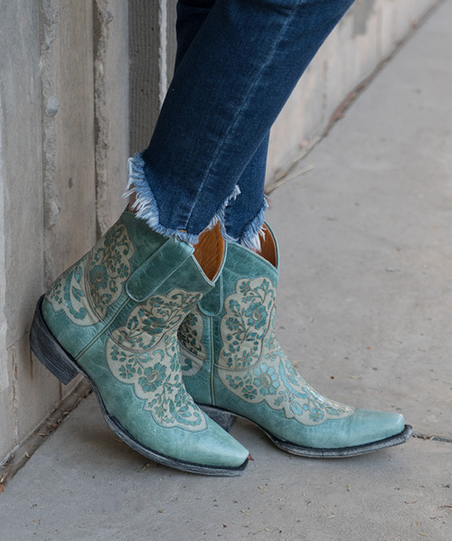 "BL2711-9 OLD GRINGO MIGISSI TURQUOISE  BLUE  8"" LEATHER ANKLE BOOTS"