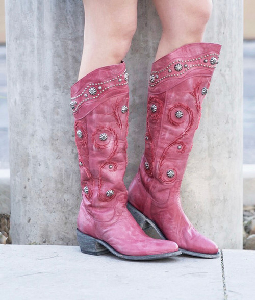 "L 942-3 OLD GRINGO PACHANGA VESUVIO PINK LEATHER 16"" BOOTS"