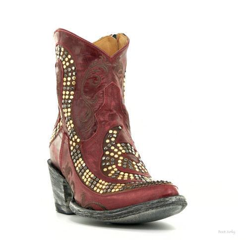 L1177-6 OLD GRINGO SNAKE VESUVIO RED GOLD RIVETED LEATHER ANKLE BOOTS
