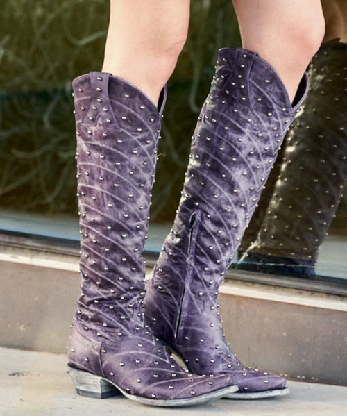 "L 675-11 4L OLD GRINGO HOSIFOOKAMI TALL RIVETED VESUVIO ""TAKA"" PURPLE LEATHER BOOTS SNIP TOE/9964 HEEL"