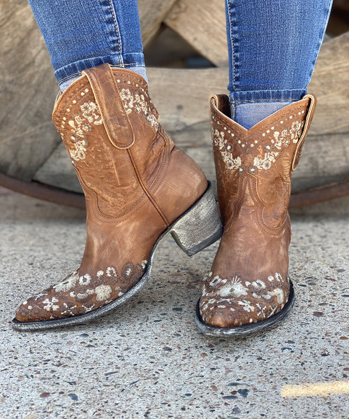"L2482-4 OLD GRINGO AMELIA 8"" ORYX BROWN EMBROIDERED ANKLE BOOTS"