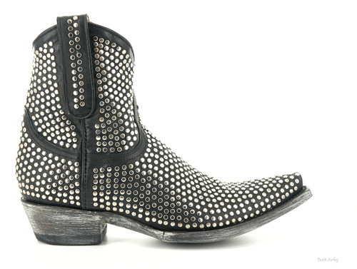 L1042-1 OLD GRINGO AGUJAS BLACK RIVETED BLACK ANKLE BOOTS (Snip Toe/9964 Heel)