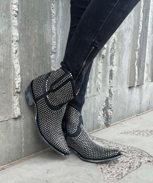 L1042-1 OLD GRINGO AGUJAS BLACK RIVETED BLACK ANKLE BOOTS (Snip Toe/9964 Heel)