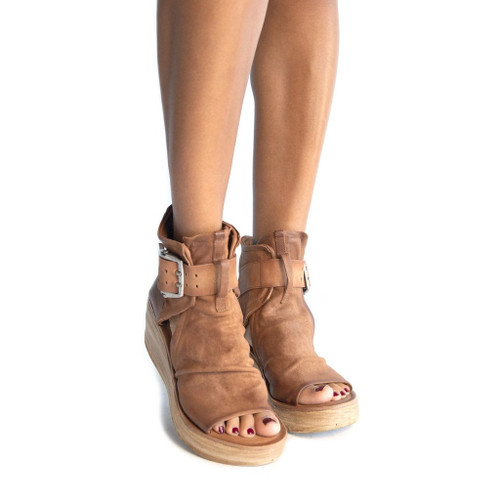 A.S.98 NAYA WHISKEY CALVADOS BROWN LEATHER WEDGE LADIES SANDAL