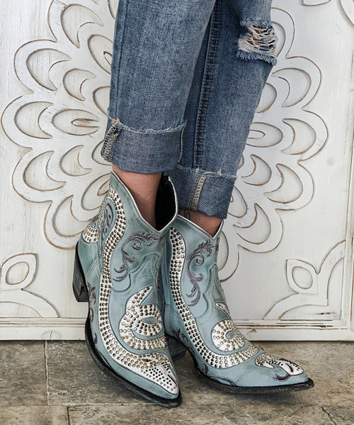 L1177-9 OLD GRINGO SNAKE NILO BLUE WHITE RIVETED LEATHER ANKLE BOOTS