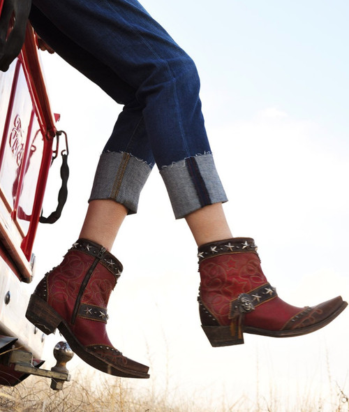 """DDBL043-2 DOUBLE D RANCH BORN IN THE USA 7"""" RED LEATHER ANKLE BOOTS"""