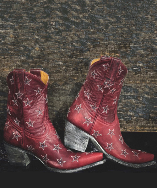 """L2308-5 OLD GRINGO LIBERTY STAR CRYSTAL 8"""" VESUVIO RED ANKLE BOOTS"""