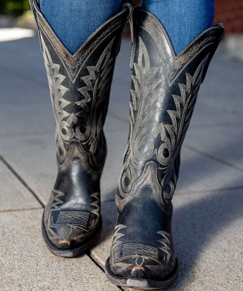 """L 175-435 OLD GRINGO NEVADA BLACK 13"""" LEATHER BOOTS"""