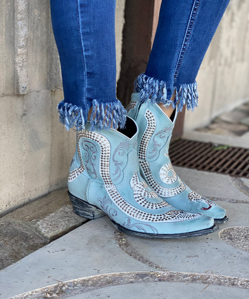 L1177-9 OLD GRINGO SNAKE NILO BLUE WHITE RIVETED LEATHER ANKLE BOOTS SNIP TOE/WALKING HEEL