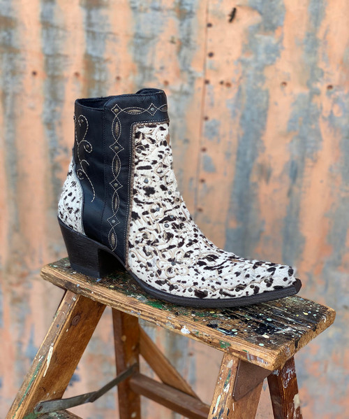 BL3104-5 OLD GRINGO AMBER COW PRINT BLACK  EMBROIDERED ANKLE BOOTS