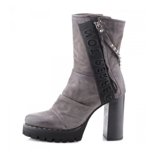 A.S.98 BOONE NEBBIA GRAY PLATFORM LADIES LEATHER FASHION BOOT